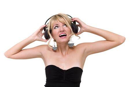 gogo girl: Attraktive Frau Tänzerin mit Kopfhörer, isoliert auf weiß Lizenzfreie Bilder