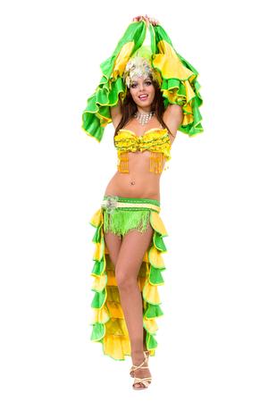 one caucasian woman samba dancer dancing isolated on white in full length
