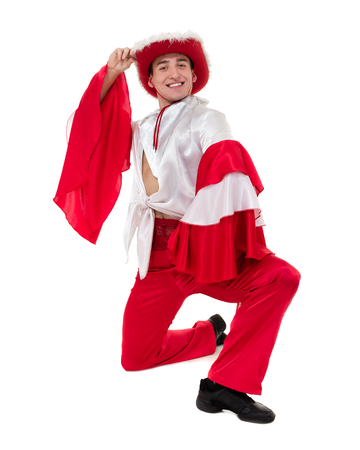 Dancing man wearing a toreador costume. Isolated on white background. Stock Photo