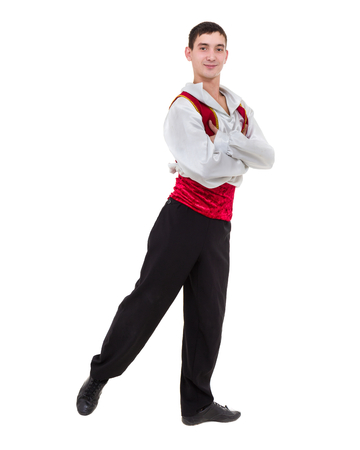 Dancing man wearing a toreador costume. Isolated on white in full length. Stock Photo