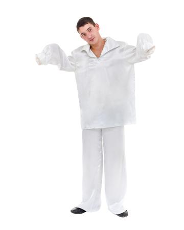 portrait of sad mime, Pierrot isolated on white background Stock Photo