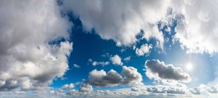 Fantastic soft clouds against blue sky, natural composition