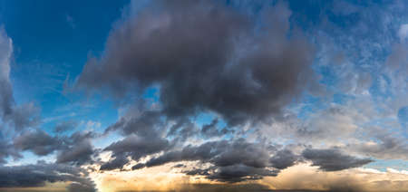 Fantastic dark thunderclouds, sky panorama