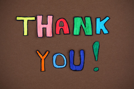 paper cut out: Colorful paper cut out words Thank you. Stock Photo