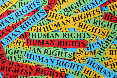human rights: Pile of colorful paper notes with words Human Rights. Human rights concept.