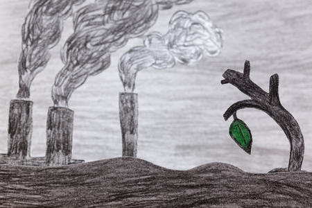 smoke stack: There is only one green leaf on the dry tree on background of factories polluting the air (water and land).Like child