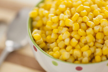 sweetcorn: Cooked sweetcorn in a bowl.