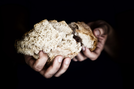 女性の手がパンの部分を保持しています。救いの手の概念 写真素材