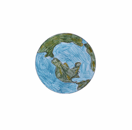 Earth hand-drawn with colored ballpoint pens. White Background.Image was hand drawn by myself. Stock Photo