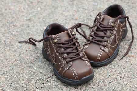 a pair: Pair of toddler boots. Stock Photo