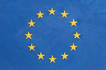child's play clay: European flag made of plasticine (Childs Play Clay). Close-up. Stock Photo