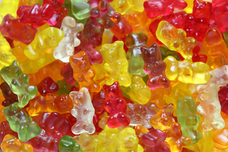 Gummy bear background close-up.