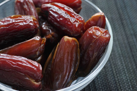 date fruit: Date fruit in a glass bowl.