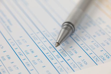 financial statements: Ballpoint pen on financial statements. Close-up. Stock Photo