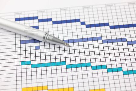 printout: Project Plan (Gantt chart) with ballpoint pen. Close-up.