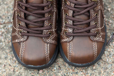 15 18: Pair of toddler boots. Close-up. Stock Photo