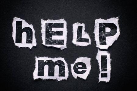 help me: Help me words on black background with vignette.