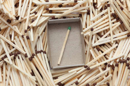 escaped: The green match has escaped. Green match in a matchbox surrounded with brown matches. Close-up.