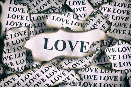 shredding: Burnt Love. Burnt pieces of paper with the word Love Stock Photo