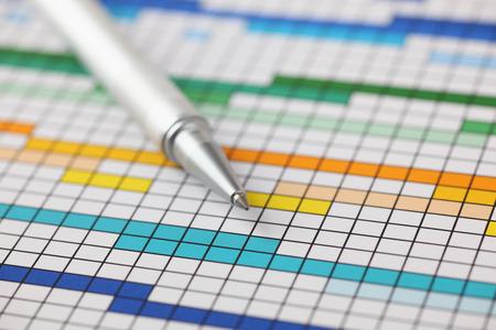 planificacion: Plan del proyecto (diagrama de Gantt) y bolígrafo en él. De cerca.