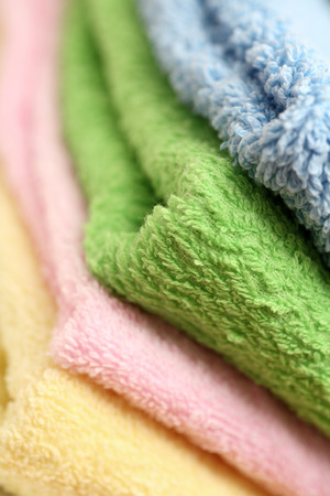 descriptive colors: Close-up of multicolour towels.