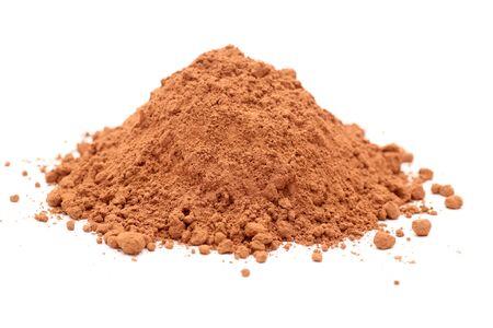 Montón de cacao en polvo. enfoque selectivo. De cerca.