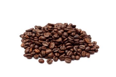 large bean: Heap of coffee beans on white background. Close-up.