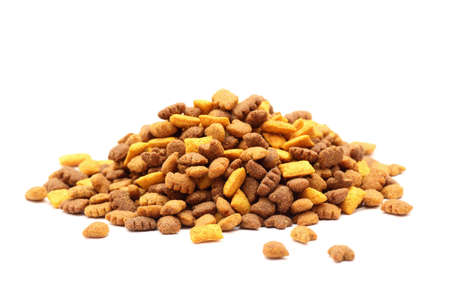 cat food: Heap of cat food on white background. Close-up.