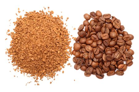 Coffee beans and instant coffee heaps on white background. Close-up