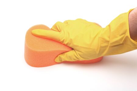 cleaning hands: Cleaning close-up. Stock Photo