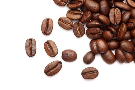 large bean: Coffee beans on white background. Close-up. Stock Photo