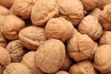 heap: Walnuts heap. Close-up.