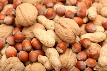 Nuts Background. Close-up. Stock Photo