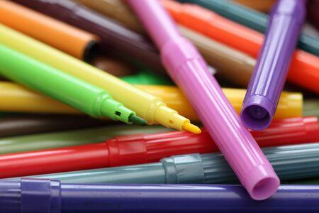 felt tip: Heap of colored felt tip pens. Close-up.