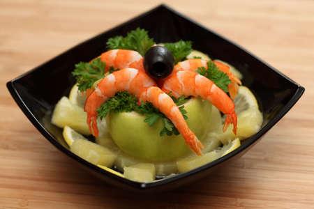 prepared shellfish: Shrimp salad. Close-up.