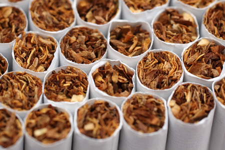 bad habit: Close-up of the tobacco end of cigarettes.