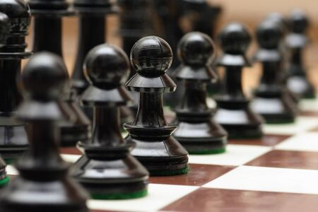 battling: Line of chess pawns
