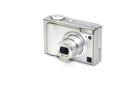 point and shoot: Point and shoot digital camera on white background