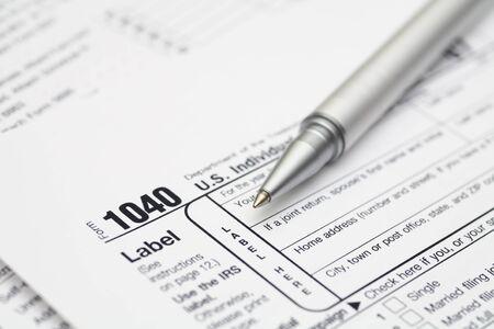ballpoint: 1040 Tax Form with ballpoint pen