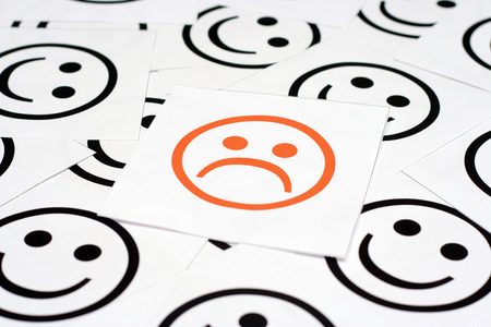 happy faces: Sad face and Happy faces Stock Photo