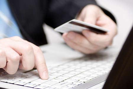 lender: Businessman using credit card