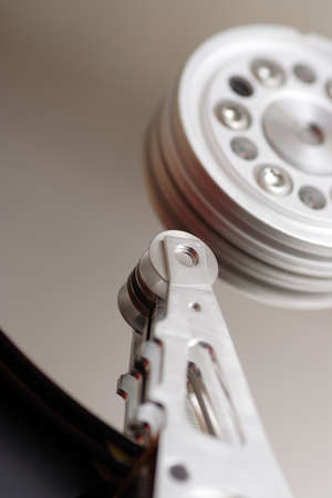 disk drive: Inside the hard disk drive. Close-up. Stock Photo