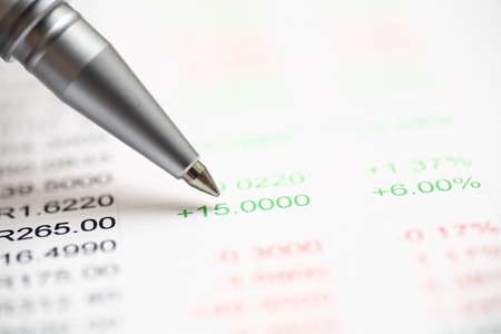 financial statements: Analysis of financial statements. Focus on pen Stock Photo