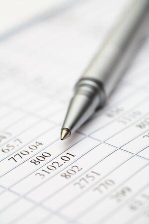 account statements: Ballpoint pen on financial statements Stock Photo
