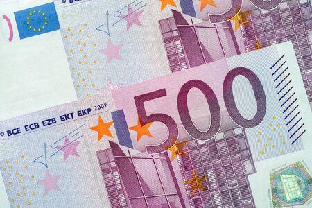 european exchange: Five Hundred Euro Banknotes. Closeup.