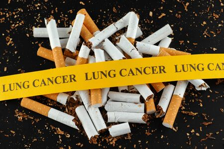 cigarette smoke: Broken cigarette with message Lung Cancer Stock Photo