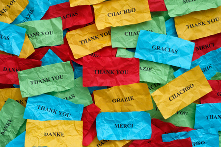 Thank you in many languages on crumpled colorful pieces of paper.