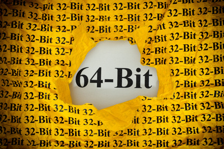 Time for 64-Bit. 64-Bit appearing behind torn 32-Bit yellow paper.