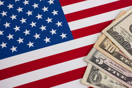 bandera blanca: Indicador y los d�lares de Estados Unidos. Acercamiento.