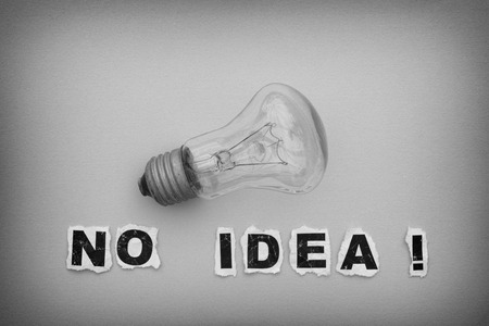 no idea: Bulb and phrase No Idea! Black and white.